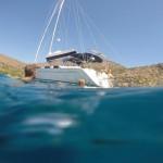 Swimming time GoPro half onder water